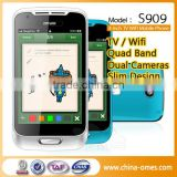 TV WIFI Support New Model S909 4 inch touch screen Dual Sim GSM Quad Band cheap china feature mobile phone