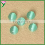 high quality man-made light green round cabochon flat back stone cat eye glass
