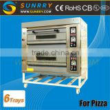 Guangzhou 2015 new professional 2 decks 6 trays commercial electric cake baking oven for pizza used