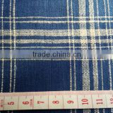 Natural/Taupe Plaid Linen Fabric blue with white