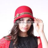 2015 red color womens wool felt hat wholesale /floopy wool felt hats/hand-maded wool hats