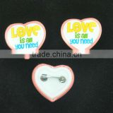 Promotion gifts heart shape badge pin button badge