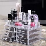 2016 Hot sale Acrylic Cosmetic Storage Display Boxes, Wholesales cosmetic organizer with drawers,hot sales acrylic