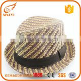 Custom multi color straw fedora hats jazz design fedora straw hat unisex                                                                                                         Supplier's Choice