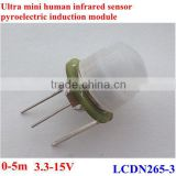 Ultra mini PIR mosion sensor module, pyrolelectric infrared sensor 0-5m DC3.3-15V ,20uA Samples sale online accept paypal