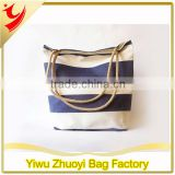 High Quality Sturdy Cotton Canvas Fabric Tote Shopping Bags With Navy Blue and White Stripes