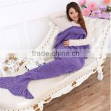 purple color Knitted Mermaid Blanket Adult size