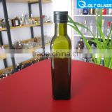 High quality dark green empty olive oil glass bottle/square glass cooking oil bottle/oil bottle wholesale