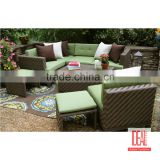 wicker rattan furniture double sofa set with cushion outdoor wicker rattan garden furniture , wicker PE rattan furniture set