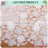 Beautiful fashion white warious flowers ornament design lace embroidery fabric for wedding dress