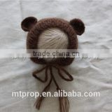 Newborn Mohair Teddy Bear Bonnet Hand Knit Crochet Mohair Baby Hat Baby Photography Props