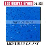 Hot sales light blue shining artificial quartz stone,sparkle quartz stone countertop