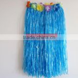 Long flowered turquoise blue hula costumes for kids
