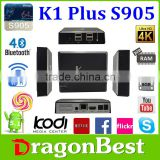 Drangonbest wholesale K1 Plus Amlogic S905 with DVB T2/S2 hot selling 2016 Android STB /DVB/tv box quad core 5.1 OS