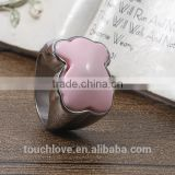China Factory Wholesale Fashion Rings Jewelry , Latest Pink Bear Design Titanium Silver 316l Stainless Steel Rings For Women
