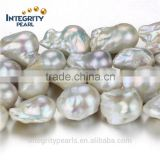 15mm AA- white ivory grade irregular baroque natural freshwater pearl beads baroque strand