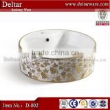 Sanitary ware made in china, modern bathroom vanity with gold flower picture, coloured bathroom basins for sale