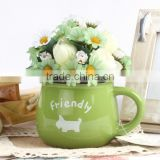 Cup shape ceramic flower pot with silk chrysanthemum small artificial potted for home table decorative