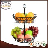 New design 2 tier metal wire fruit basket