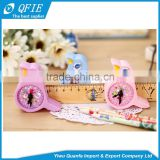 Promotional kid's gift lovely bird shape clock model plastic mechanical pencil sharpener with two-hole