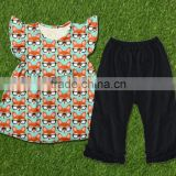 new design fox print dress girl cotton flutter top and baby icing ruffle pants children boutique clothes sets