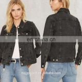 Women plain denim jacket model black jean jacket wholesale