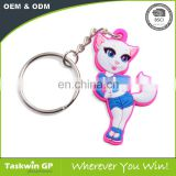 Custom 2D soft PVC keychain, cheap bulk 3D rubber key rings, plastic keychain
