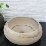 Yellow Sandstone Bathroom Vessel Round Sink Natural Stone Wash Basin