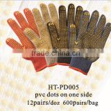 color cotton gloves with PVC dots/ pvc dotted gloves/hand working gloves / pvc dotted cotton glove