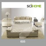 Tufts and nail design, Natural color fabric sofa set and Nobel Classical deisgn living room furniture