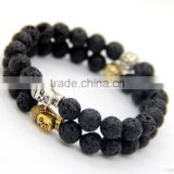 Hot Sell Natural Stone Beads And Gold Plating Shamballa Head Bracelets, Round Beads Bracelet