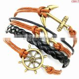 CB8173 wholesale jewelry Antique anchor wax rope braided wrap jewelry leather bracelet