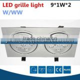 2x9W led grille downlight for clothes shop, 18W led grille light