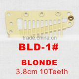 BLD-1# Retail and wholesale 38mm long Blonde color straight 10 teeth easy snap clips for hair extensions wigs wefts weavings