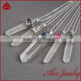Wholesale natural rough sterling silver spirit jewelry crystal quartz stone point pendant charm connector