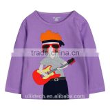 wholesale price purple long sleeve t shirt guitar printing child clothes baby clothes