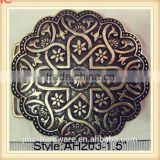 vintage fashion oval and round customized antique bronze metal plate-style belt buckle with complicated pattern