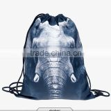 2016 Fashion summer backpack drawstring bag elephant digital print sewing No raw edges tote tutorial with travel stuff