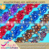 T0005-4(1.5)hot sale many colors african designs organza embroidery polyester lace with beads sequins