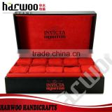 10 slot black leather watch box,Chinese watch packaging box,watch display box with red velvet inside