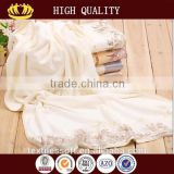 luxury bamboo fiber bath towel set with lace