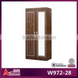 W972-28 Indian design wood mirror wardrobe bedroom wardrobe lamination