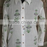 100%Hand Block Printed Garments Kurta Cotton Classical Dress Hand designer shirt