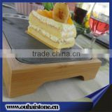 30*15cm quality black rectangle slate cheese plate with bamboo holder