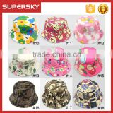 A-1417 fashion baby print bucket sun hat children summer sun beach cap cute kids bucket hat