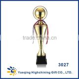 Black plastic base three sizes sports awards trophies gold plated gift metal golden ball type china trophies 3027ABC trophy cup