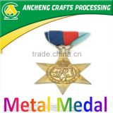 Five-pointed star shape gold/Brass medal with ribbon