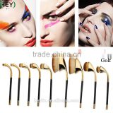 2016 New Arrival Synthetic Hair High Quality 9PCS Gold Golf Clubs Shaped Makeup Brush Set