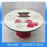 Hot selling ceramic cake stand,decorative cake stand with snowman painting                                                                                                         Supplier's Choice