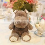 hot-selling new style cartoon animal model 40 60cm brown and red river horse plush toy doll